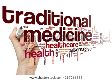 Traditional medicine word cloud concept - stock photo