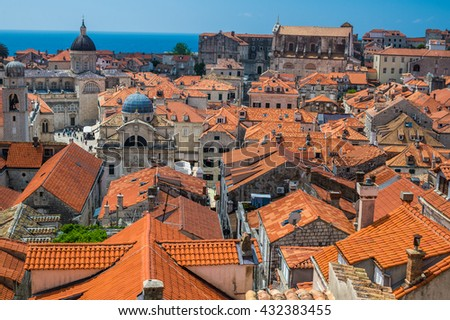 Traditional Mediterranean houses with red tiled roof - Dubrovnik, Dalmatia, Croatia, Europe - stock photo