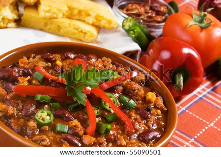 Traditional mexican chili beans with ground beef - stock photo
