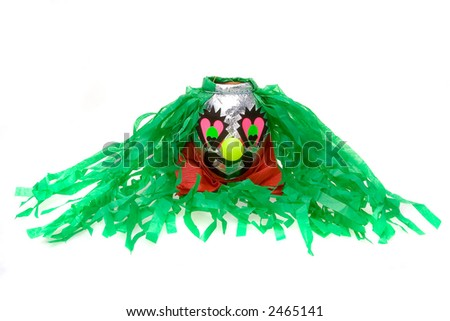 Traditional mexican clown pinata isolated in white background - stock photo