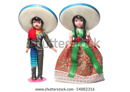 traditional Mexican doll isolated for celebration - stock photo