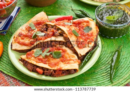 Traditional mexican food quesadillas - stock photo