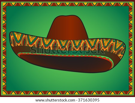 traditional mexican hat. Sombrero with ornament.