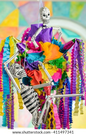 Traditional mexican piñata with skeletons on day of the dead  - stock photo