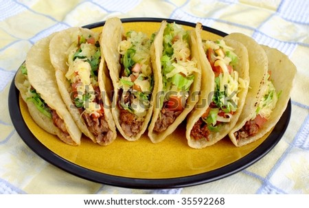 Traditional Mexican tacos - stock photo