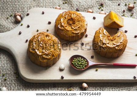Traditional moon cakes to celebrate mid autumn festival
