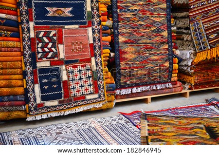 Traditional moroccan carpets in a berber store in Marrakesh, Morocco - stock photo