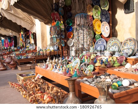 Traditional Moroccan market with artwork - stock photo