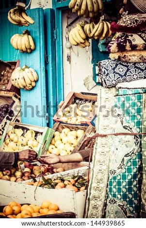 Traditional moroccan shop in Tanger. - stock photo