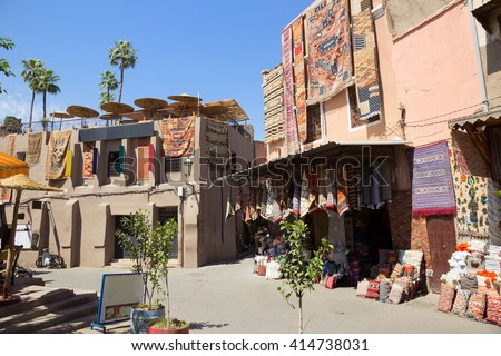 Traditional moroccan textile for sale in the souks of Marrakech, Morocco - stock photo
