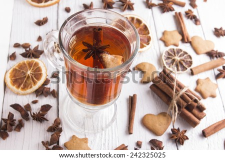 Traditional mulled wine with spices. Shallow depth of field - stock photo