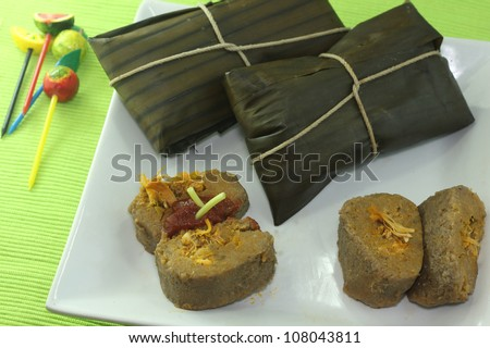 traditional New Year meal in Dominican Republic - stock photo