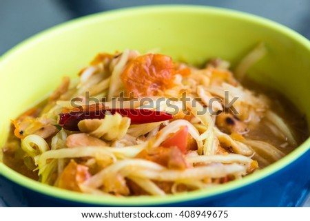 Traditional North Eastern Thai food, taken from side close up shot - stock photo
