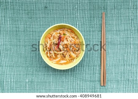 Traditional North Eastern Thai food, taken from top view - stock photo