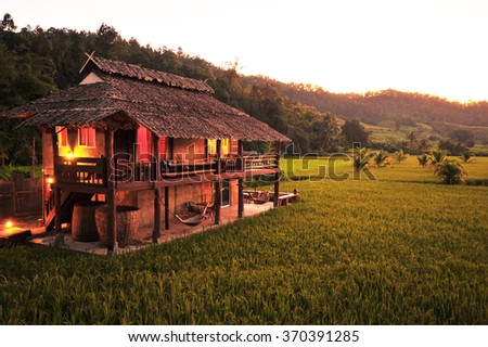 Traditional Northen Thai House in Rice Field