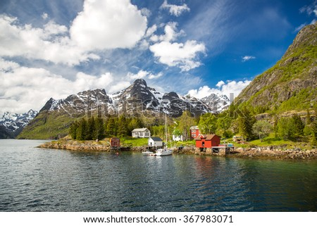 Traditional norwegian landscape in the Lofoten Islands.