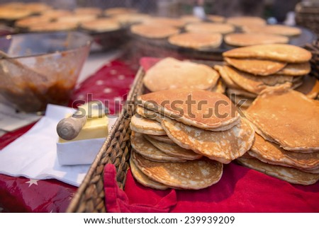 Traditional norwegian svele cake fried outdoor - stock photo