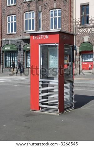 Traditional Norwegian telephone booth in Bergen - stock photo