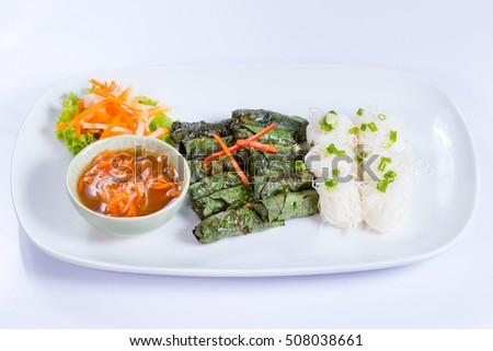 traditional of vietnamese food on white plate