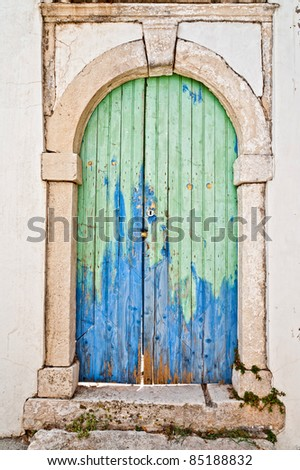 Traditional Old Door of Greek Island - stock photo