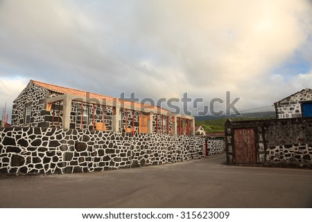 Traditional old houses of Pico Island in Azores - stock photo