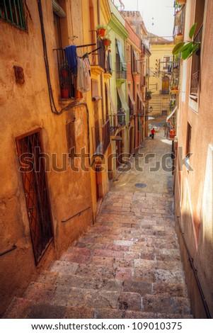 traditional old Spanish street, Tarragona, Catalonia, Spain - stock photo