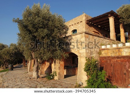 Traditional old stone farm house at countryside, Crete island, Greece - stock photo