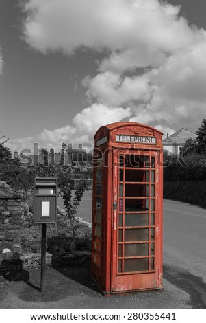 Traditional Old Style British Phone Booth in United Kingdom - stock photo