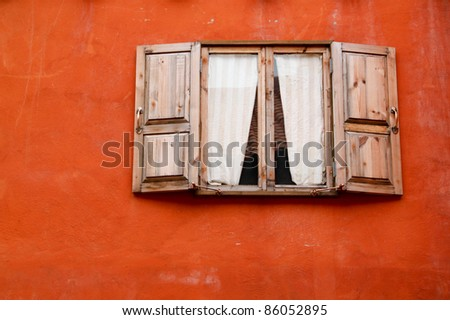 traditional old style of wooden window - stock photo