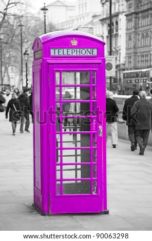 Traditional old style UK phone box in London. - stock photo