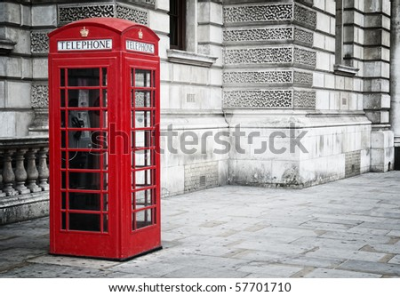 Traditional old style UK red phone box in London. - stock photo