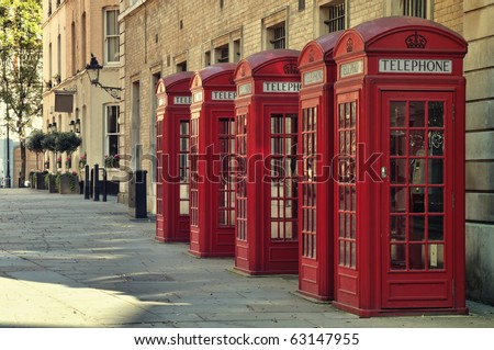 Traditional old style UK red phone boxes in London. - stock photo