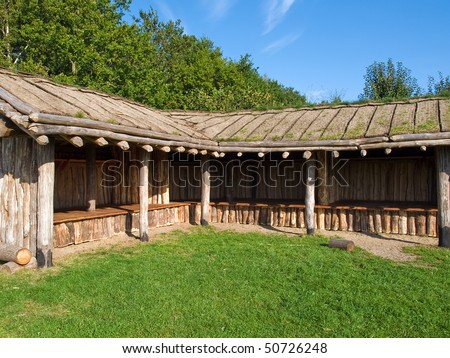 Traditional old Viking Age storage farm house hut in a village