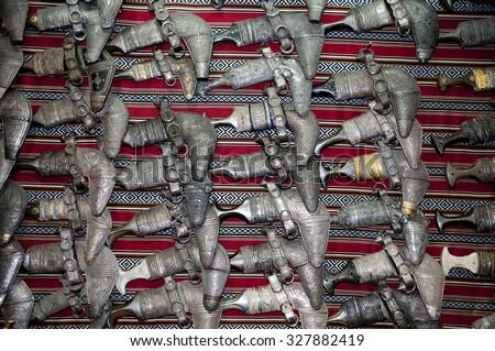 Traditional omani silver daggers - stock photo