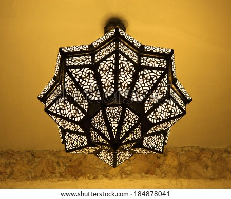 Traditional oriental lamp in Doha, Qatar, Middle East - stock photo