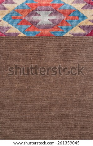 traditional ornament print on corduroy textile - stock photo