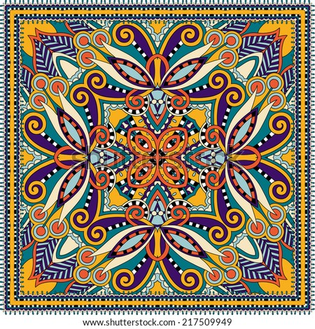 Traditional ornamental floral paisley bandanna. You can use this pattern in the design of carpet, shawl, pillow, cushion, raster version