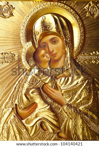 traditional orthodox icon of Mother Mary - stock photo
