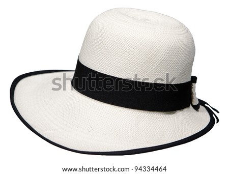 traditional Panama Hat is isolated on a white background - stock photo