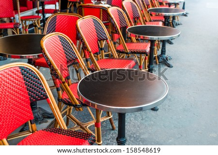 traditional Parisian coffee in paris,France - stock photo
