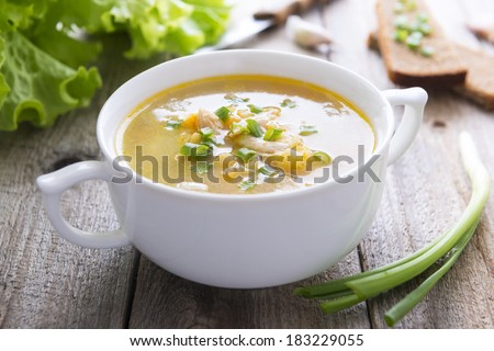 Traditional pea soup - stock photo