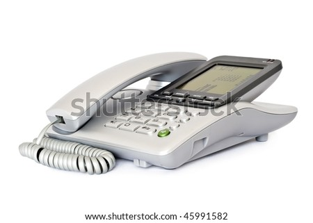 Traditional phone equipment, isolated on a white background. - stock photo