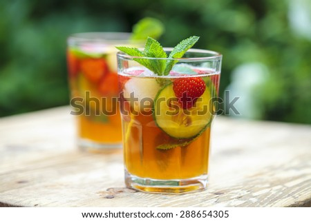 Traditional Pimms and lemonade - stock photo