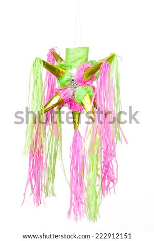 traditional pinata star shape from mexico isolated on white background, important part of parties and celebrations in mexican culture, very popular during posadas parties and independence day  - stock photo