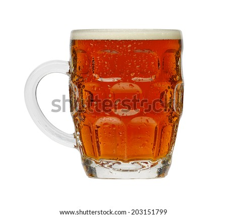 Traditional Pint of Beer in a typical British dimple glass - stock photo