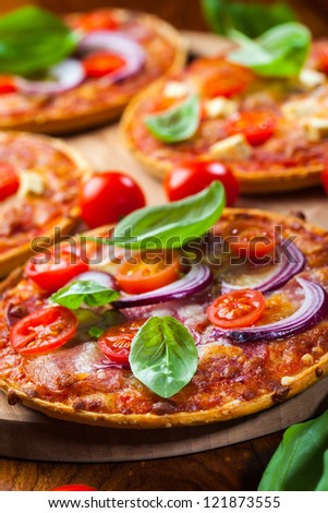 Traditional Pizza with salami and cheese - stock photo