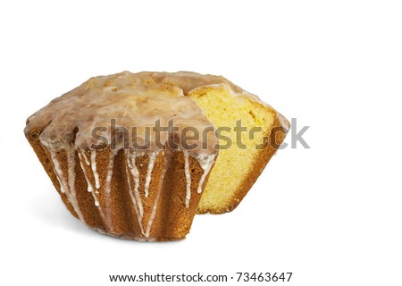 Traditional Polish Easter cake with icing isolated on white. Clipping path. - stock photo