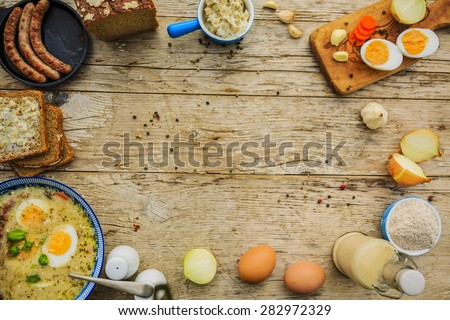 Traditional Polish sour cream soup , space for text - stock photo