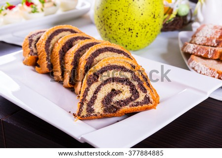 Traditional poppy-seed cake for easter - stock photo