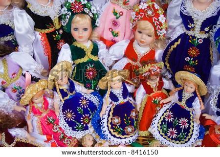 traditional porcelain dolls sale souvenir store stock photo edit